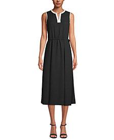 Anne Klein Split-Neck Drawstring-Waist Dress