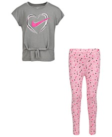 Little Girls 2-Pc. Heart Top & Dot Leggings Set