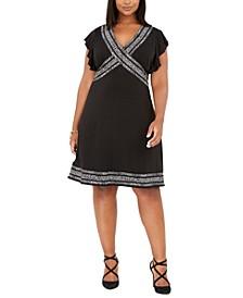 Plus Size Printed-Trim Shift Dress
