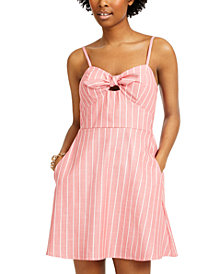Speechless Juniors' Tie-Front Fit & Flare Dress