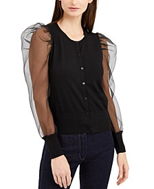 INC Woven-Sleeve Cardigan, Created for Macy's