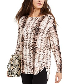 INC Snake-Print Shirttail Top, Created for Macy's