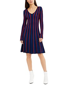 Striped Knit A-Line Dress