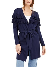 INC Belted Ruffled Completer Cardigan, Created for Macy's