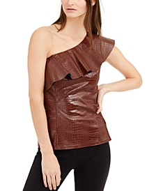 INC Croc-Embossed Faux-Leather Top, Created for Macy's