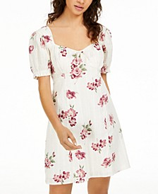 Juniors' Puff-Sleeve Floral-Print Dress