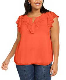 Trendy Plus Size Ruffled Keyhole-Cutout Top