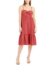 INC Twist-Front Linen-Blend Midi Dress, Created for Macy's