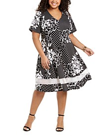 Plus Size Mixed-Print Fit & Flare Dress
