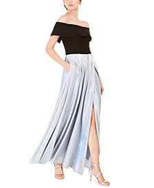Off-The-Shoulder Glitter-Skirt Gown