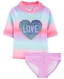 Little & Big Girls 2-Pc. Sequin Love Swimsuit