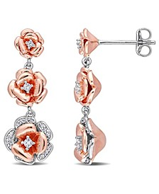 Created White Sapphire (1/8 ct. t.w.) and Diamond (1/10 ct. t.w.) Graduated Floral Earrings in Two-Tone Sterling Silver