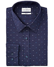 Men's Slim-Fit Performance Stretch Navy & Blue Clip-Spot Dress Shirt