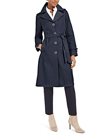 Belted Hooded Water-Resistant Raincoat