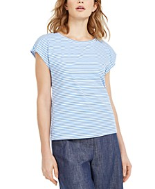 Striped Cap-Sleeve T-Shirt