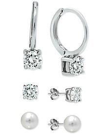 3 Pc. Set Cubic Zirconia Huggie Hoop & Stud Earrings in Sterling Silver, Created for Macy's