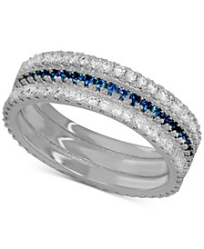 Sapphire Crystal Band Ring in Fine Silver-Plate