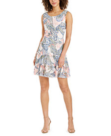 Connected Petite Printed Lace Tiered Dress