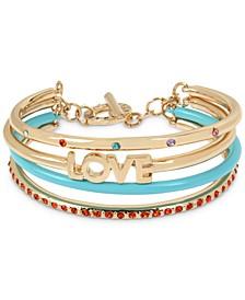 Gold-Tone Pavé Love Multi-Row Cuff Bracelet