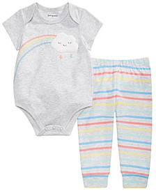 Baby Boys or Girls Rainbow Bodysuit & Striped Jogger Pants Separates, Created for Macy's