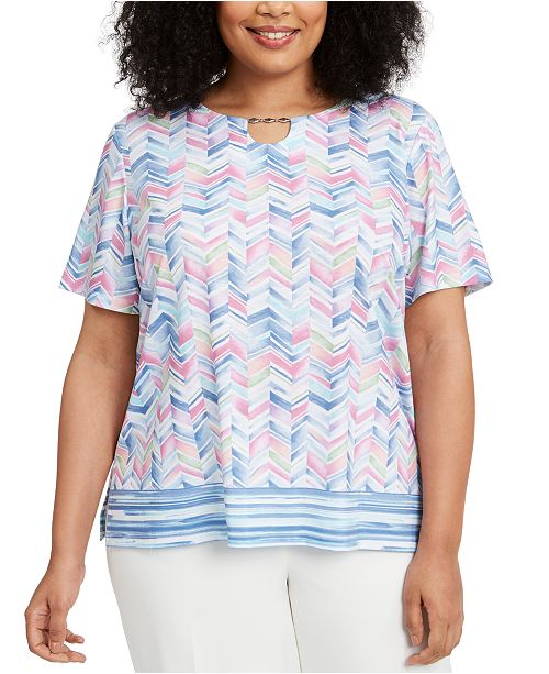 Alfred Dunner Plus Size Petal Pushers Chevron-Border Top