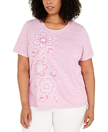 Plus Size Petal Pushers Embroidered Flowers Top