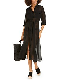 Belted Chiffon Cover-Up Dress