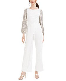 Sequined-Sleeve Crepe Jumpsuit