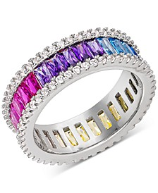 Cubic Zirconia Rainbow Band in Sterling Silver