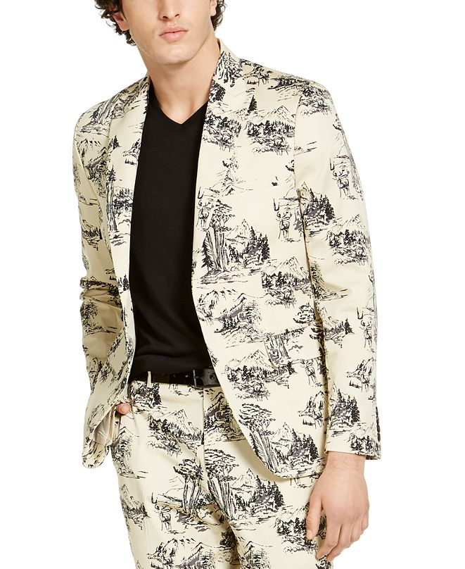 INC International Concepts INC Men's Slim-Fit Nature Drawing Blazer, Created for Macy's