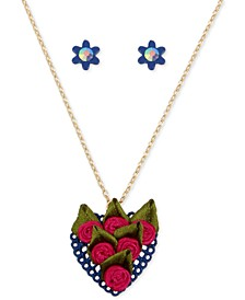 Gold-Tone Fabric Rose Heart Pendant Necklace & Pavé Flower Stud Earrings Set