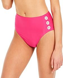 Grommet-Trim High-Waist Bikini Bottoms