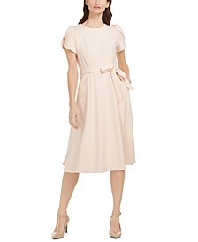 Tulip-Sleeve Fit & Flare Midi Dress