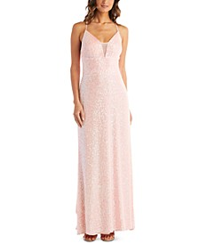 Juniors' Sequined Mesh-Inset Gown