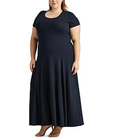 Lauren Ralph Lauren Plus-Size Cotton-Blend Maxidress