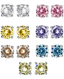 7-Pc. Set Cubic Zirconia Color Stud Earrings in Sterling Silver