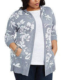 Plus Size Open-Front Floral-Print Jacquard Hooded Cardigan