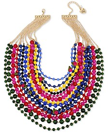 """Gold-Tone Bead, Fireball & Fabric Rose Multi-Row Statement Necklace, 17"""" + 3"""" extender"""