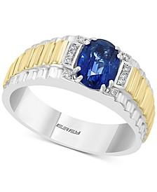 EFFY® Men's Kyanite (1-5/8 ct. t.w.) & Diamond (1/20 ct. t.w.) Ring in Sterling Silver & 18k Gold-Plate