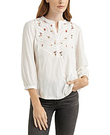 Cotton Embroidered Henley Top