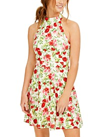 Juniors' Floral-Print Eyelet Halter Dress