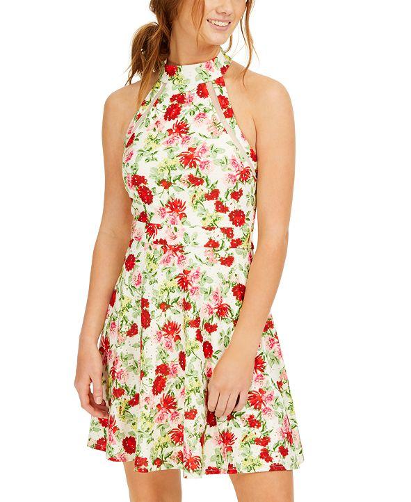 Teeze Me Juniors' Floral-Print Eyelet Halter Dress
