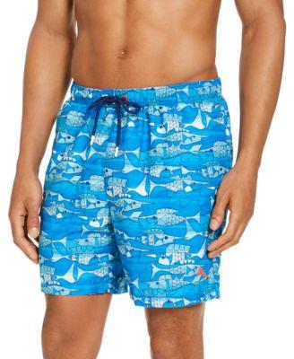 Penguin Mens Graphic Printed Swim Trunk Shorts Crystal Blue Orange Size 30