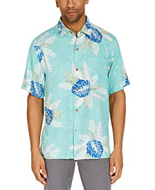 Men's Coastal Gardens Classic-Fit Tropical Print Silk Camp Shirt