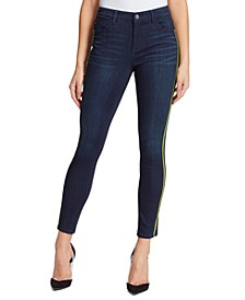 Sarah Mid-Rise Side-Striped Ankle Jeans