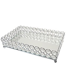 Elipse Crystal Decorative Mirrored Jewelry or Makeup Vanity Organizer Tray