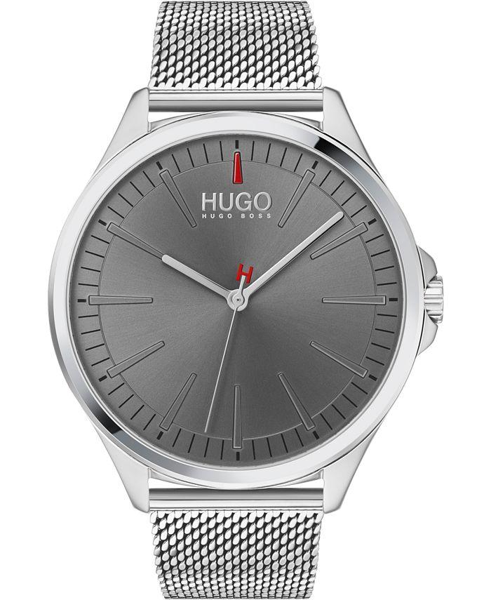 HUGO - Men's #SMASH Stainless Steel Mesh Bracelet Watch 43mm