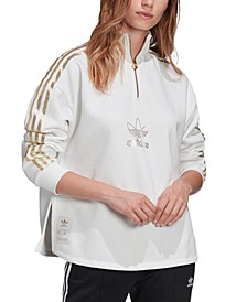 Women's Metallic-Accent Fleece Quarter-Zip Top