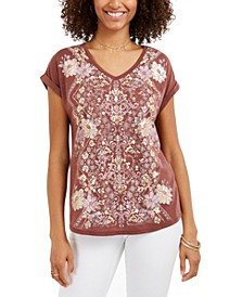 V-Neck Printed T-Shirt, Created for Macy's