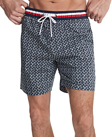 "Tommy Hilfiger Men's Corey Geo 7"" Swim Trunks, Created for Macy's"